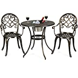 Giantex 3pcs Bistro Table Set Cast Aluminum Outdoor Patio Furniture Set Round...