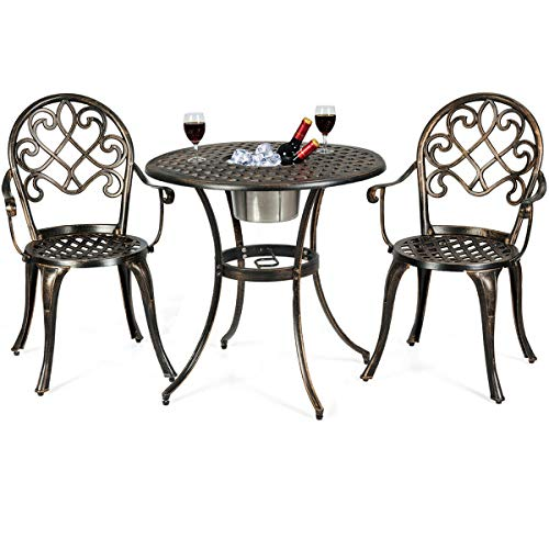 Giantex 3pcs Bistro Table Set Cast Aluminum Outdoor Patio Furniture Set Round Table W/Removable Ice Bucket, 2 Chairs Antique Garden Furniture Weather Resistant (Antique Bronze)