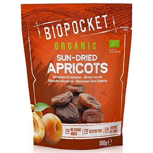 Biopocket - Orejones de albaricoque ecológicos, 2 bolsas de 500 g