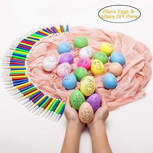 ZB Uova di Pasqua - Confezione da 20 Kit di Pittura Decorativa con 60 Pezzi di Colore ad Acqua Penne Fai-da-Te per Uova di Pasqua da Appendere per l'artigianato Fai-da-Te e Gli Ornamenti