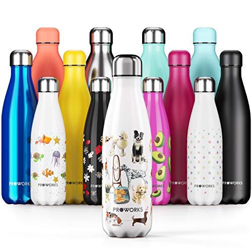 Proworks Botellas de Agua Deportiva de Acero Inoxidable | Cantimplora Termo con Doble Aislamiento para 12 Horas de Bebida Caliente y 24 Horas de Bebida Fría - Libre de BPA- 500ml Blanco Cola de Perro