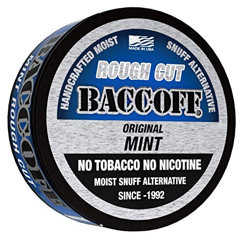 BaccOff, Original Mint Rough Cut, Premium Tobacco Free, Nicotine Free Snuff Alternative (5 Cans)