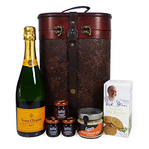 75cl Veuve Clicquot Champagne and Nibbles Gift Food Hamper presented in Vintage Style Wine Carrier - Gift ideas for Mum, Mothers Day, Birthday, Anniversary, him, her, Corporate, Business