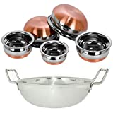 Jalpan Kitchenware 6-in-1 Stainless Steel Cookware Combo of Induction Kadhai, 1.7 L