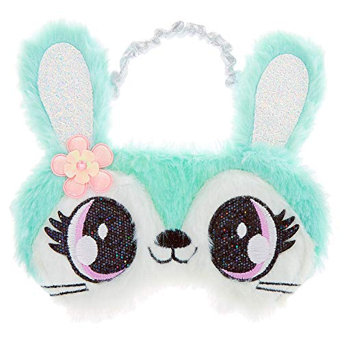 Claire's Jade the Bunny Sleep Eye Cover for Girls, Elastic Back, One Size, Mint Green with Silver, 1 Pc