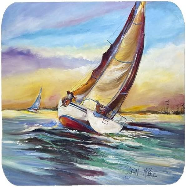 Caroline S Treasures JMK1237FC Horn Island Boat Race Sailboats Foam Coaster Set Of 4 3 5 H X 3 5 W Multicolor