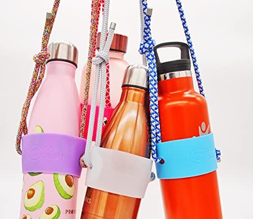Gogush - Cadena para botella de agua, cordón térmico, cordón para el hombro, apto para la mayoría de marcas y modelos de 500 ml hasta 1 litro, soporte universal para botellas (gris/transparent