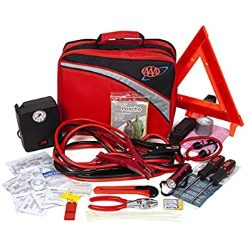 Lifeline 4388AAA Excursion Road 76-Piece Car Air Compressor Jumper Cables Flashlight and First Aid Kit