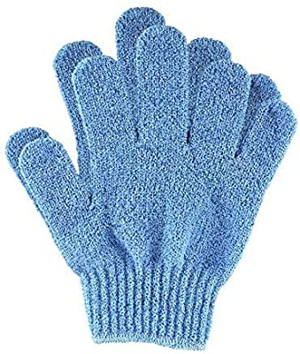 Exfoliating Wash Gloves, Bamboo Exfoliator Mitt, Bath/Shower Scrub, Body Exfoliation Hand Mitten, Beauty Scrubs/Loofah, Ingrown Hair/Dead Skin Remover, Scratching Eco Microfibre, Natural, Blue by Temple Spring