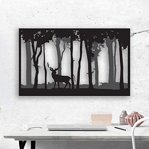 ikonika Large metal wall art and decor with 3D deer parallax. Deer in a forrest