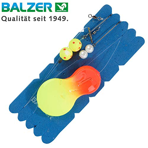 Balzer Inline Plattfisch Blinker System orange/gelb - Meeresmontage zum Plattfischangeln, Locklöffel + Vorfach zum Brandungsangeln, Gewicht:100g