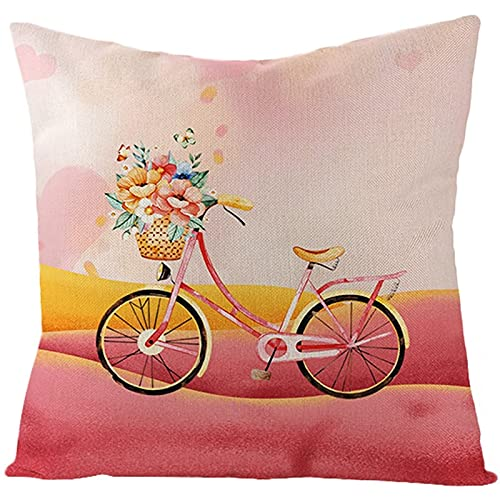 Agoble Cuscini Decorativi Letto Salmone Giallo Fiore Della Bicicletta, Biancheria Cuscini Esterno 45x45cm/18x18 Inches