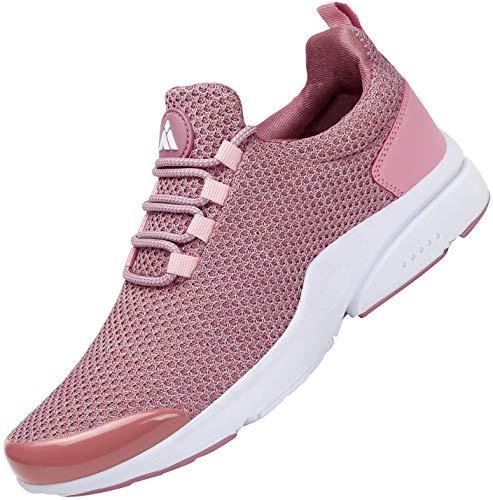 Mishansha Zapatillas de Masculino Femenino Ligero Suave Malla Transpirable Lace Up Zapatos para Caminar Gimnasia Trainers Primavera Verano 2020 Cómoda Atléticos Calzados, Sneaker Rosa 40