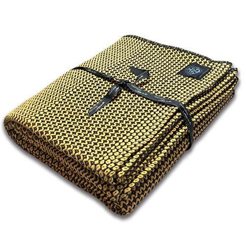 Craft Story Decke Joana I schwarz – senfgelb aus 100% Baumwolle I Anschmiegsame Tagesdecke I Sofa-Decke I Couch-Überwurf I Bedspread I Plaid I 170 x 220cm