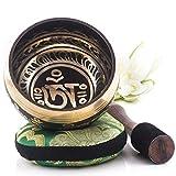 Silent Mind tibetische Klangschale Set ~ Balance und Harmonie ~ mit hochwertigem Holz Klöppel und Himalaya Kissen ~ perfektes zur