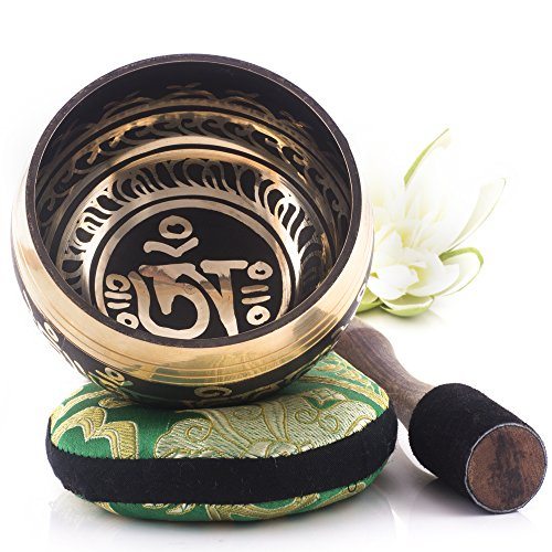 Silent Mind ~ Juego De Cuencos Tibetanos ~ Diseño Equilibrio y Armonía ~ Con Mazo De Superficie Doble Y Cojín De Seda ~ Promueve La Paz, La Curación De Chakras Y La Atención Plena ~ Un Regalo Exquisito (Bronce)