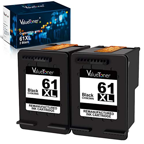 Valuetoner Remanufactured Ink Cartridge Replacement for HP 61XL 61 XL High Yield for Envy 4500 5530, Deskjet 2540 1056 1510 1000 1010, Officejet 4630 2620 4635 Printer (2 Black)