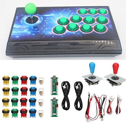 SALUTUYA Game Rocker, USB, Joystick, Azul + Rojo, Soporte Burst Keys, para Jugadores Dobles para PS3(Double DIY Arcade Machine-Color)