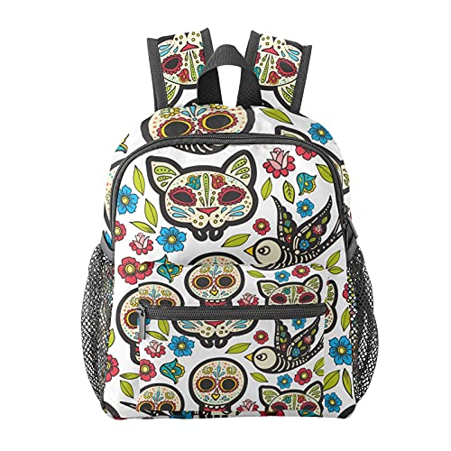 Mexican Skull Cat Backpack for Boys and Girls Perfect Size for Travel