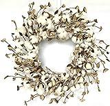 Huashen Large Cotton Pods Wreath, Summer Fall Year Round Everyday Farmhouse Decor on Grape...
