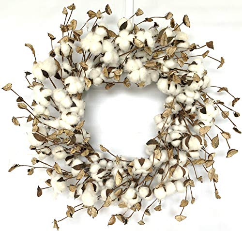 Huashen Large Cotton Pods Wreath, Summer Fall Year Round Everyday Farmhouse Decor on Grapevine for Front Door Wall Window 24inch