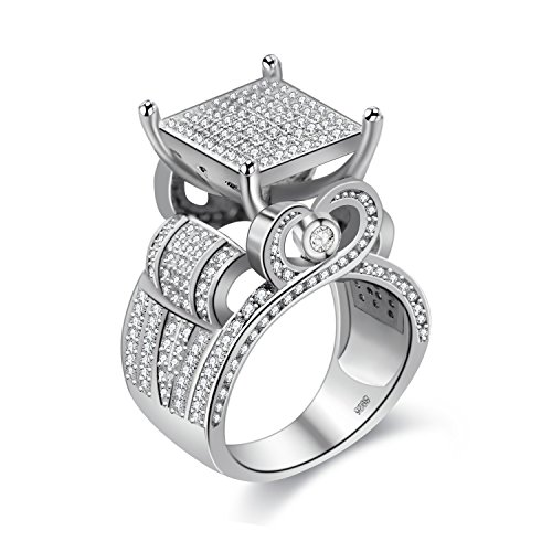 Uloveido Platinum Plated Big Square Cocktail Party Favor Rings, Round Clear CZ Simulated Diamond Wedding Anniversary Ring for Women (Size V) RA0221