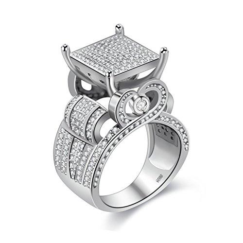 Anillo de corazón hueco cuadrado ancho de tono plateado Uloveido con centro elevado de micropave cubic zirconia, anillos de boda para mujeres (talla 17) RA0221