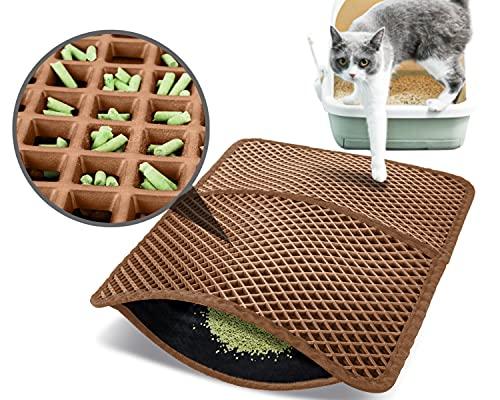 Pecute Estera de Arena para Gatos Impermeable Cat Litter Mat Alfombra de Basura Rascadores Litter Trapping Mat Doble Capa no Tóxico Antideslizante Plegable para Arenero Gatos (Marrón, 60*42cm)