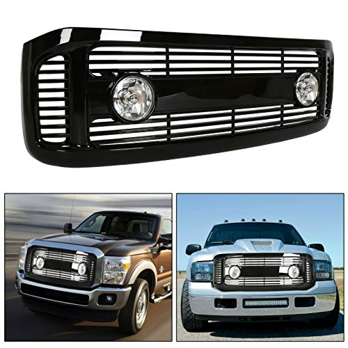 ECOTRIC Glossy Black Horizontal Front Hood Bumper Grille Grill ABS + Fog Lights Compatible with 1999-2004 Ford F250/F350