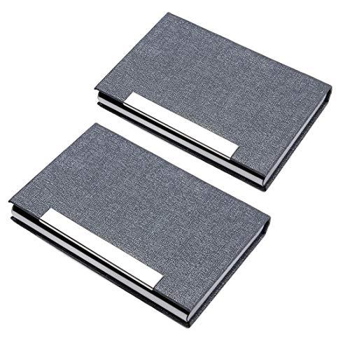 MUROAD 2 Pièces Porte Cartes de Visite, Porte-cartes en PU Cuir et Acier inoxydable, Fermeture Magnetée Porte-cartes pour Mâle et Femelle, Gris