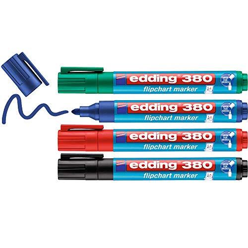 edding 380 Flipchart-Marker - 4er-Set - schwarz, rot, blau, grün - Rundspitze 1,5-3 mm - Stift zum Schreiben, Zeichnen und Markieren auf Flipcharts -Tinte schlägt nicht durch Papier-trocknet nicht aus