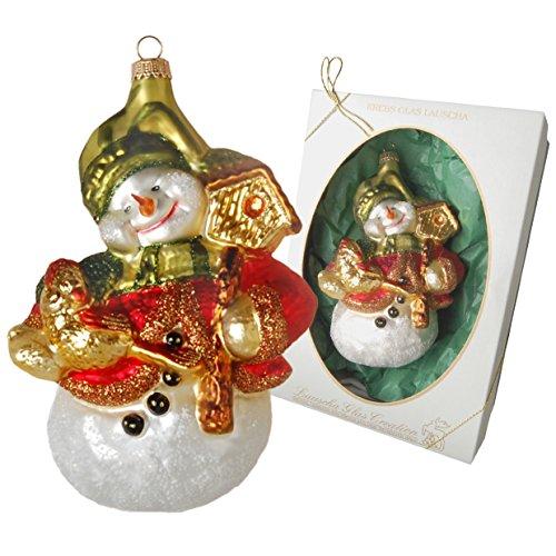 Krebs Glas Lauscha pupazzo con uccellini, Natale ciondolo