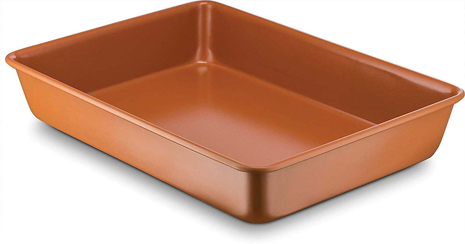 Ceramic Coated Copper Baking Pan 9 Inch X 13 Inch Premium Nonstick Dishwasher And Oven Safe PTFE PFOA Free