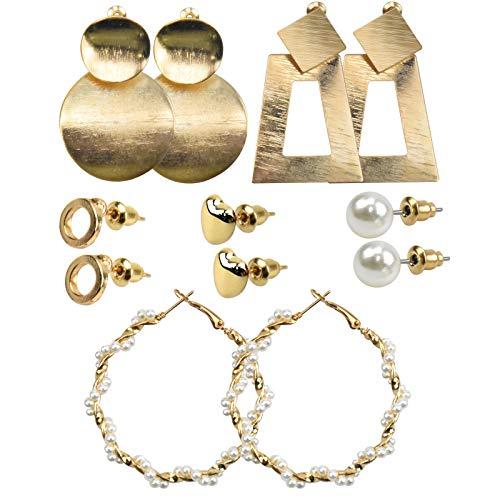 6 ParesConjunto de Pendientes de Moda, Juego Aretes para Mujeres, Aro Geométrico de Perlas, Pendientes de Corazón Círculo Metal para Niñas Fiesta Cumpleaños Regalos Dorado