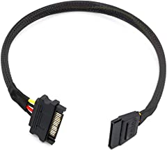 """YJJelt 15 Pin SATA Power Extension Cable,Male to Female SATA Power Cable with Black High Density Sleeving 15"""""""
