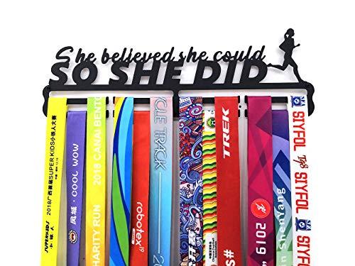 Medaillen Aufhänger Running Wand für Laufen Halter Display Rack, Schwarz Super Hart Stahl Metall,Wandmontage Medaillenhalter - She Believe She Could,So She Did- Laufsport Tolles Geschenk für Läuferin