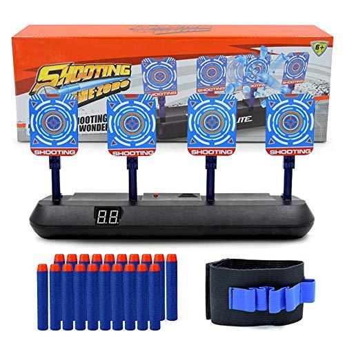 Astory Nerf-Ziel, Electric Digital-Ziel für Nerf-Waffen mit 20 Stück Nerf-Kugeln und 1 Hand-Armband, intelligentes Lichteffekt-Bewertungsziel für Jungen und Mädchen (4 Ziele)