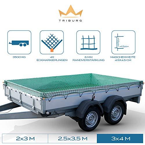 TRIBURG® Anhängernetz 3x4 mit Eckmarkierungen - Hängernetz mit Spanngummi zur optimalen Ladungssicherung - Anhänger Netz mit Gummiseil