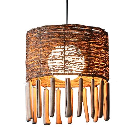 CNCDRS Tejido a mano lámpara colgante hecha de bambú, luz de techo de madera de la lámpara de madera, bambú Pantallas de iluminación, Estilo linterna luz pendiente retro, hecho a mano de bambú ratán l