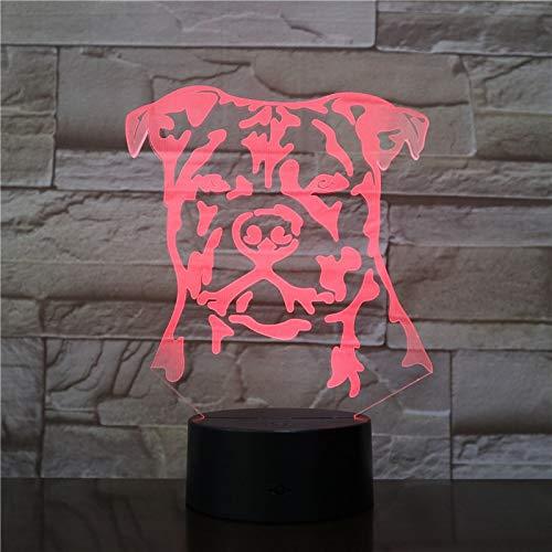 Moderno Staffordshire 3D Bull Terrier LED luz de noche Animal mascota perro cachorro lámpara de ilusión óptica decoración del hogar lámpara de mesa luz de escritorio