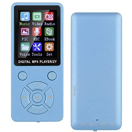 Vipxyc Música MP3 Reproductor MP4 Soporte Bluetooth 4.2 Sonido sin pérdidas Reproductores MP3 Reproductor de música Soporte de Audio Digital Tarjeta de Memoria 32G Botones tácticos(Azul)