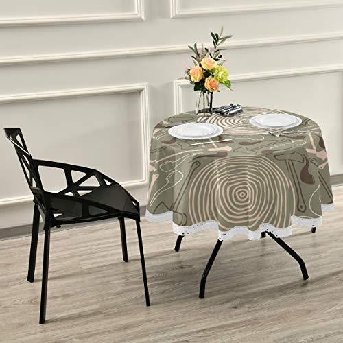 DEZIRO Tafelkleed Tafelhoes Bijl En Tabak Buis Wasbaar Polyester - Ideaal voor Buffet, Feesten, Diner