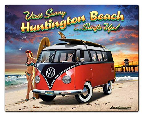 Sp567encer Metalen bord Huntington Beach VW Bus Pin Up Meisjes Mannen Huntington Decor Garage Decor Wandkunst