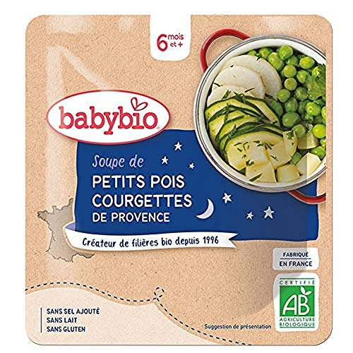 Babybio - Bonne Nuit - Soupe de Petits Pois Courgettes de Provence 190 g - 6+ Mois - BIO - Lot de 6