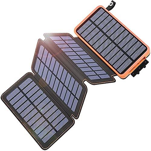 Cargador portátil Qi Paquete de batería Externa de 25.000 mAh Carga rápida Banco de energía Solar PD 18W, Linterna de Puerto de Entrada Tipo C, Carga de Panel Solar