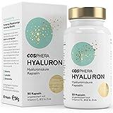 Hyaluronsäure Kapseln - Hochdosiert mit 395 mg pro Kapsel. 90 vegane Kapseln im 3 Monatsvorrat - 500-700 kDa - Angereichert mit Vitamin C, B12 und Zink - Für Haut, Anti-Aging und Gelenke -...
