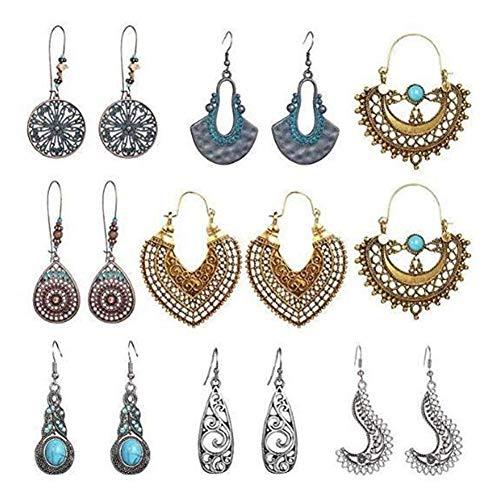 Vintage Bohemian Openwork Drop Earrings - Zhjdongtuo Retro Turquoise Drop Dangle Earrings Filigree Teardrop Earrings Rhinestone Earrings Boho Earrings for Women Girls (1)