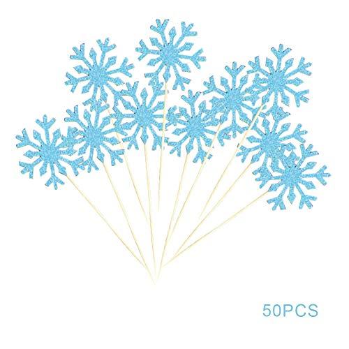 Cestor 50pcs Funkeln Schneeflocke Kuchen Cupcake Toppers Glitter Picks Cocktail Sticks Nahrung Zahnstocher Geburtstag Dekorationen für die Party Hochzeit Kuchen Geburtstagsfeiern,Blau