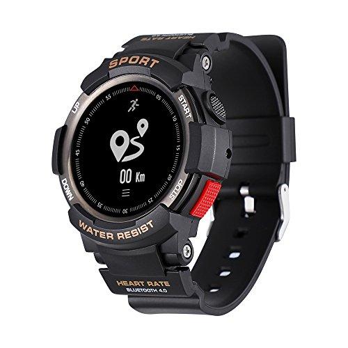 No. 1F6Reloj inteligente IP68resistente al agua con bluetooth y GPS. Cámara remota monitor del sueño, para caballeros, compatible con tele´fonos iOS y Android., negro