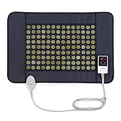 """UTK Far Infrared Heating Pad for Back Neck Shoulder Pain, Sciatica, Arthritis, Cramp Pain, 21""""x31"""" Natural Jade Stone Heating Therapy for Pain Relief, Travel Bag Included [ Model Medium ]"""